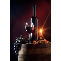 Stickers muraux déco : tonneau et bouteille de vin