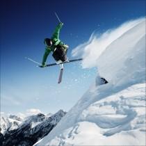 Sticker boites aux lettres déco skieur 30x30cm