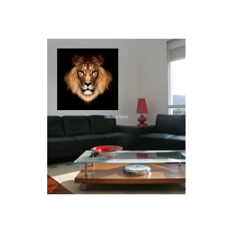 Sticker tete de lion art d co stickers - Tete animaux mural ...