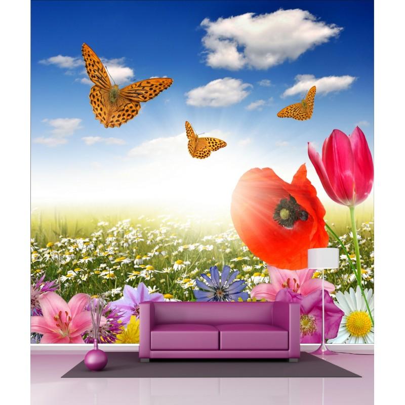 papier peint g ant d co champ de fleur papillon 250x250cm art d co stickers. Black Bedroom Furniture Sets. Home Design Ideas