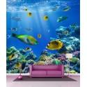 Papier peint géant déco petit poissons tropicaux 250x250cm