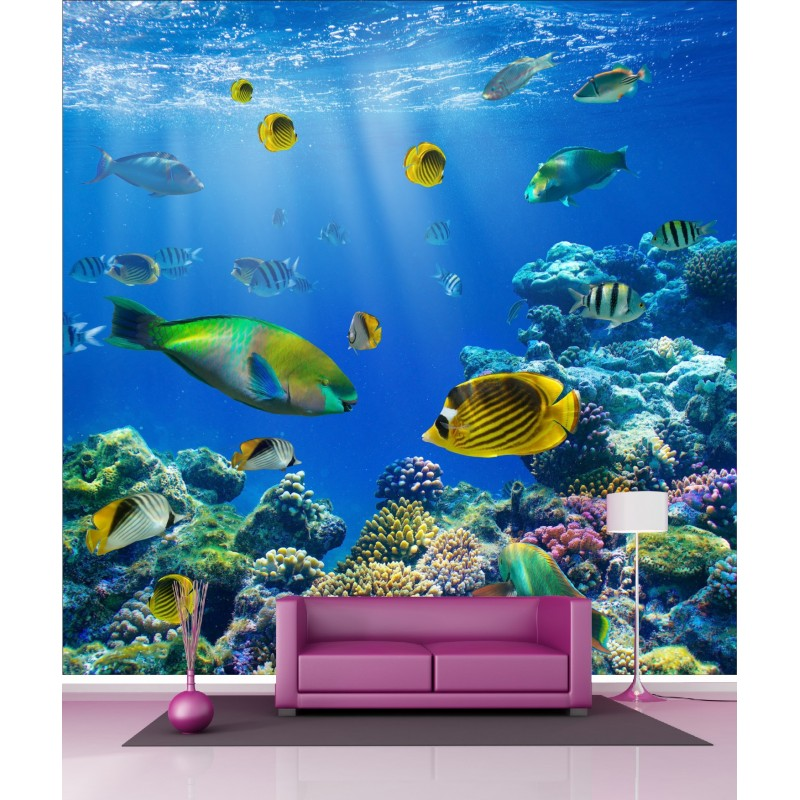 papier peint g ant d co petit poissons tropicaux 250x250cm art d co stickers. Black Bedroom Furniture Sets. Home Design Ideas