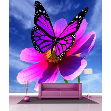 Papier peint g ant d co papillon fleur 250x250cm art - Papillon fleur ...