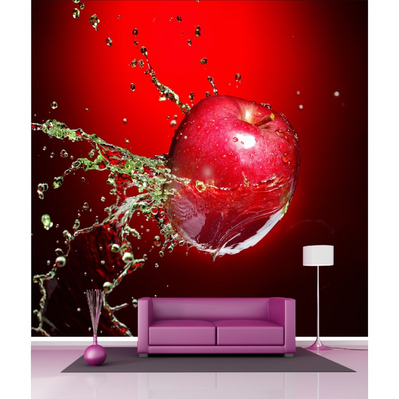papier peint g ant d co pomme rouge 250x250cm art d co stickers. Black Bedroom Furniture Sets. Home Design Ideas
