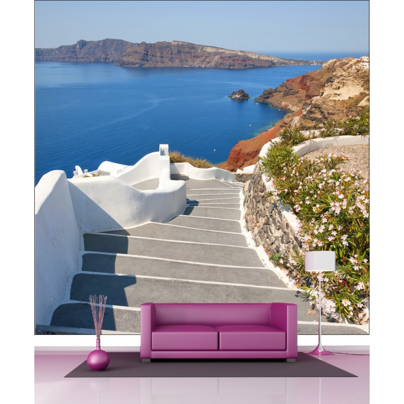 papier peint g ant d co balcon vue sur la mer 250x250cm. Black Bedroom Furniture Sets. Home Design Ideas