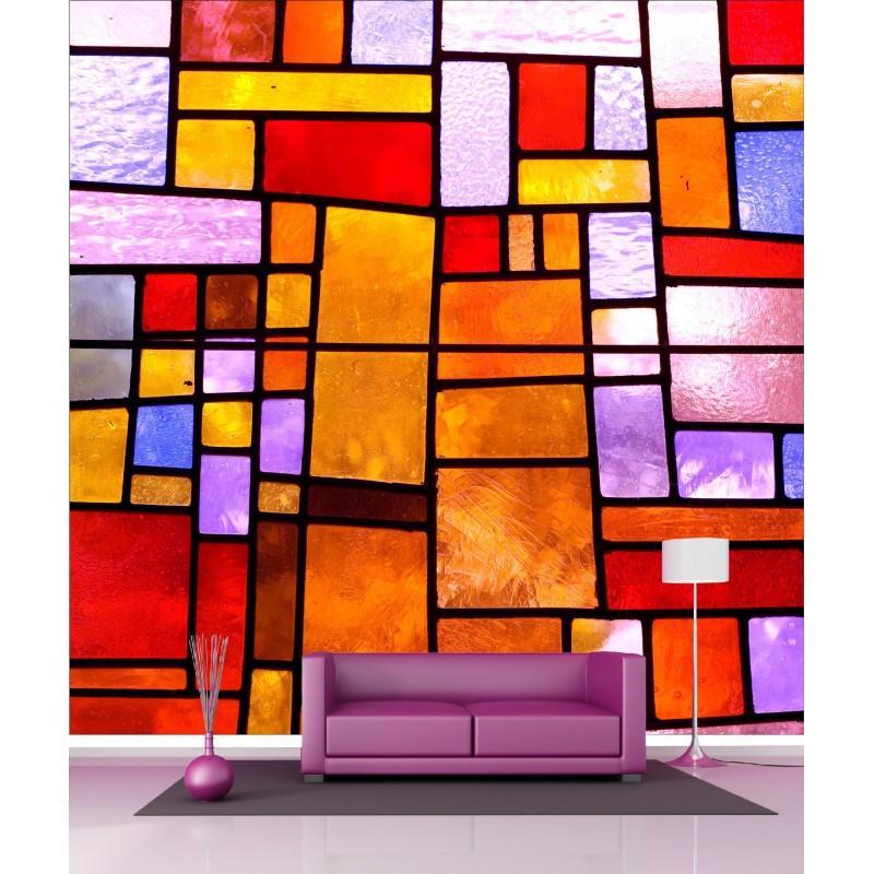 papier peint g ant d co vitraux 250x250cm art d co stickers. Black Bedroom Furniture Sets. Home Design Ideas