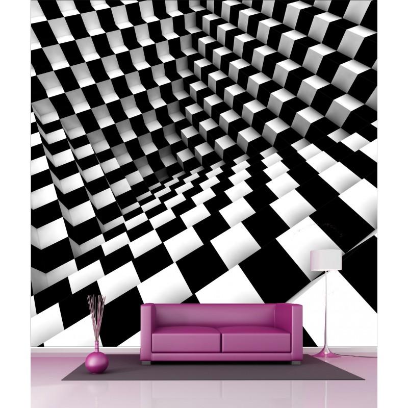 papier peint g ant d co damier 250x250cm art d co stickers. Black Bedroom Furniture Sets. Home Design Ideas
