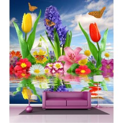 Papier peint géant déco fleurs et papillons 250x250cm