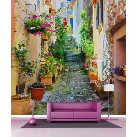papier peint g ant d co ruelle fleurie 250x250cm art d co stickers. Black Bedroom Furniture Sets. Home Design Ideas