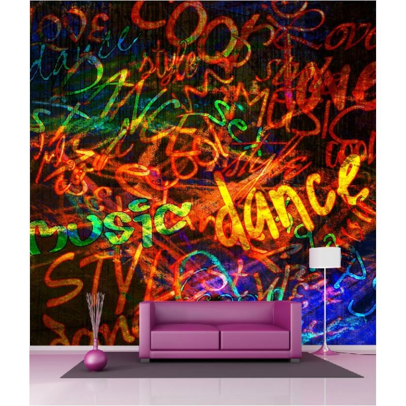 papier peint g ant d co tag graffiti 250x250cm art d co stickers. Black Bedroom Furniture Sets. Home Design Ideas