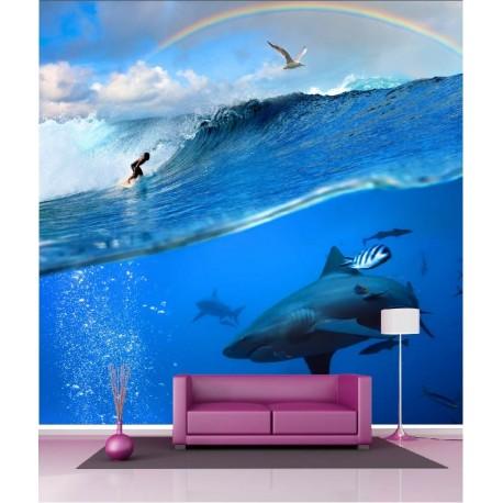 Papier peint géant déco requins 250x250cm - Art Déco Stickers