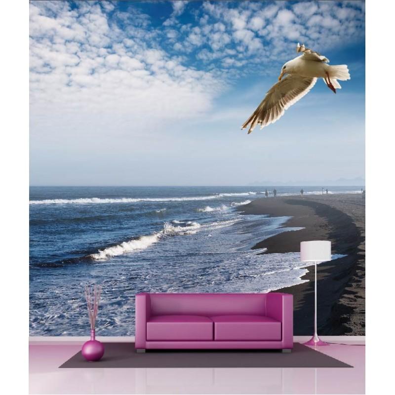 papier peint g ant d co plage mouette 250x250cm art d co. Black Bedroom Furniture Sets. Home Design Ideas