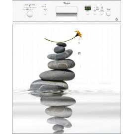 Sticker Lave Vaisselle Fleur galet - magnet lave vaisselle