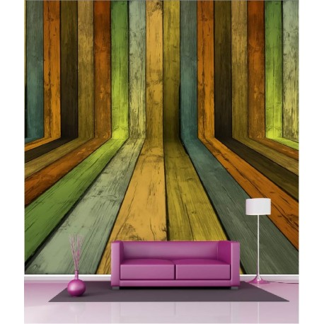 papier peint g ant d co bois de couleur 250x250cm art d co stickers. Black Bedroom Furniture Sets. Home Design Ideas