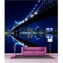 Papier peint géant déco pont de New York la nuit 250x250cm