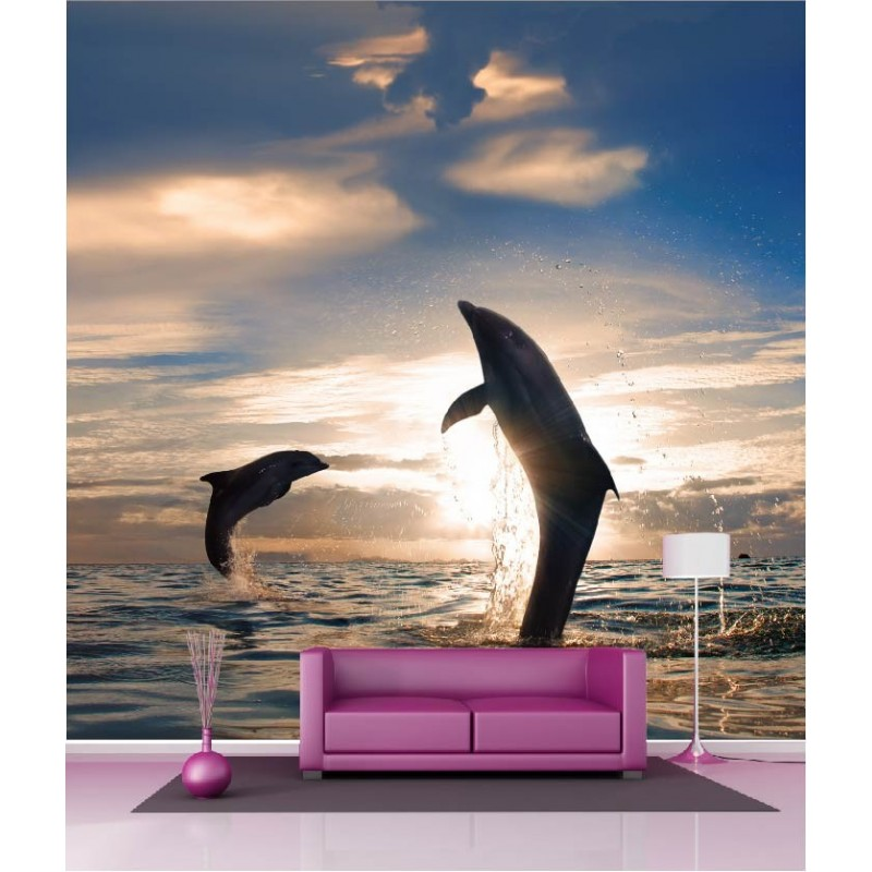 papier peint g ant d co dauphin 250x250cm art d co stickers. Black Bedroom Furniture Sets. Home Design Ideas