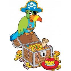 Stickers muraux enfant Perroquet pirate trésor