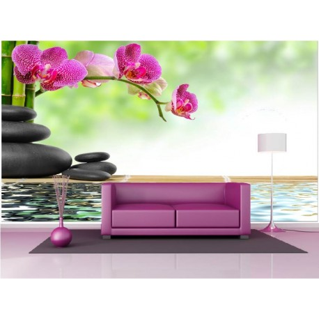 papier peint g ant d co galet bambou orchid e 250x360cm art d co stickers. Black Bedroom Furniture Sets. Home Design Ideas