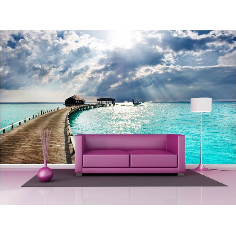 papier peint g ant d co les maldives 250x360cm art d co stickers. Black Bedroom Furniture Sets. Home Design Ideas