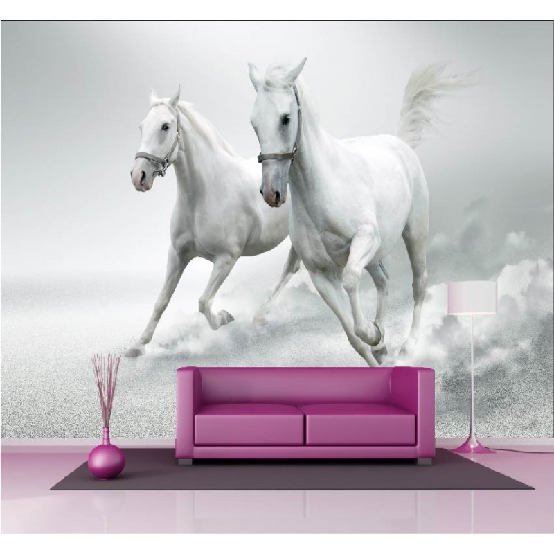 papier peint g ant d co chevaux blanc 250x360cm art d co stickers. Black Bedroom Furniture Sets. Home Design Ideas