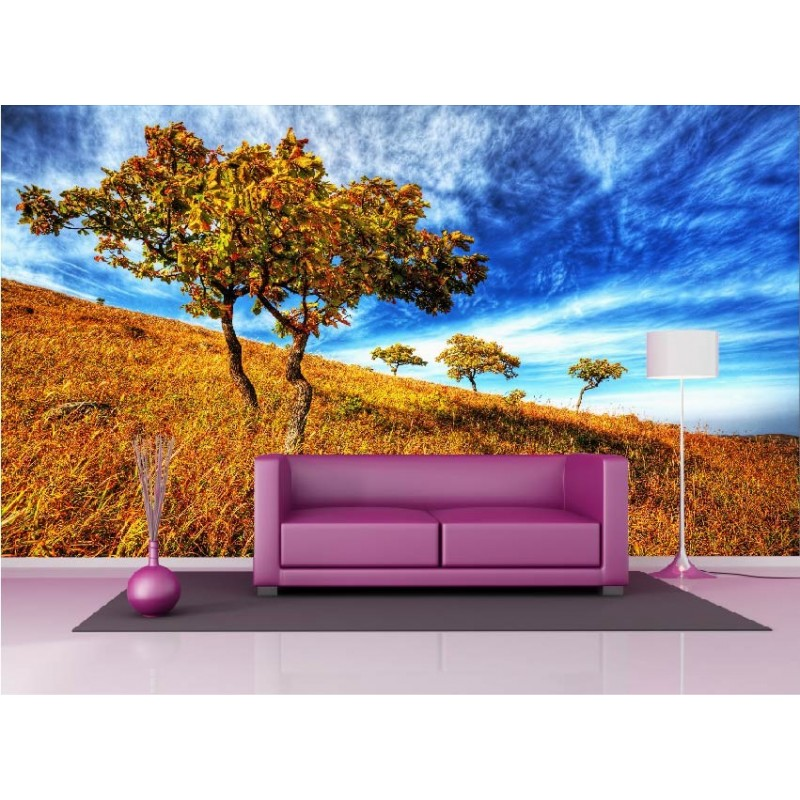papier peint g ant d co champ arbre 250x360cm art d co stickers. Black Bedroom Furniture Sets. Home Design Ideas