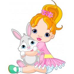 Stickers muraux enfant Poupée lapin