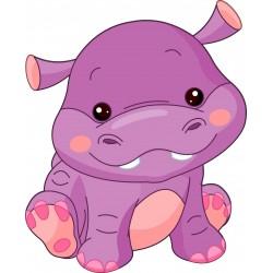 Stickers muraux enfant hippopotame
