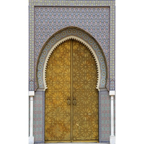 Sticker trompe l 39 oeil porte marocaine ref 011 art d co for Decoration porte marocaine
