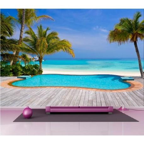 papier peint g ant d co piscine bord de mer 250x360cm art d co stickers. Black Bedroom Furniture Sets. Home Design Ideas