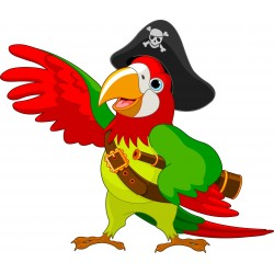 Stickers muraux enfant Perroquet pirate