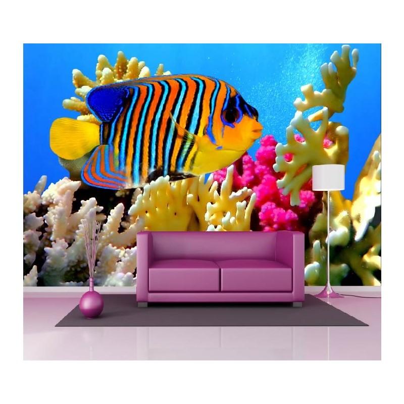 papier peint g ant d co poisson multicolore 250x360cm art d co stickers. Black Bedroom Furniture Sets. Home Design Ideas