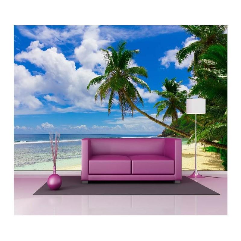 papier peint g ant d co plage palmier 250x360cm art d co stickers. Black Bedroom Furniture Sets. Home Design Ideas