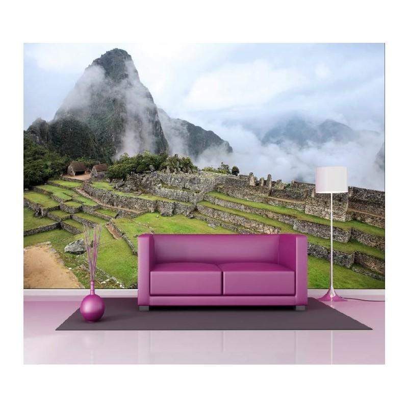papier peint g ant d co montagne brumeuse 250x360cm art. Black Bedroom Furniture Sets. Home Design Ideas
