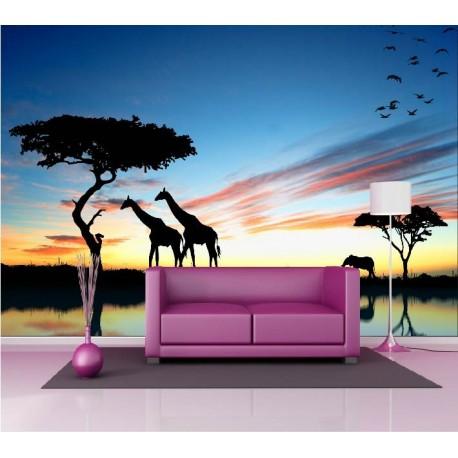 papier peint g ant d co animaux de la savane 250x360cm art d co stickers. Black Bedroom Furniture Sets. Home Design Ideas