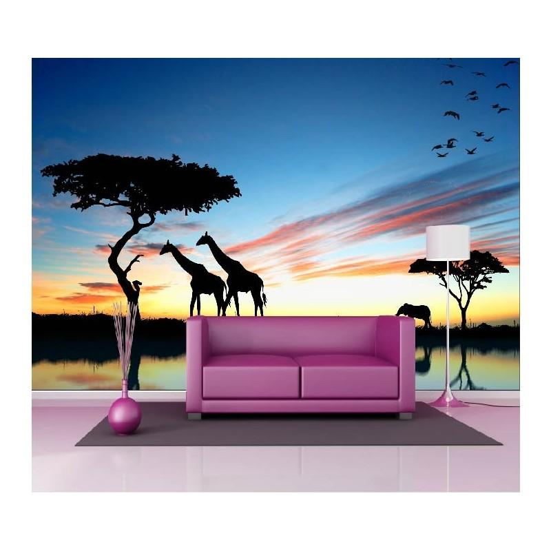 papier peint g ant d co animaux de la savane 250x360cm. Black Bedroom Furniture Sets. Home Design Ideas