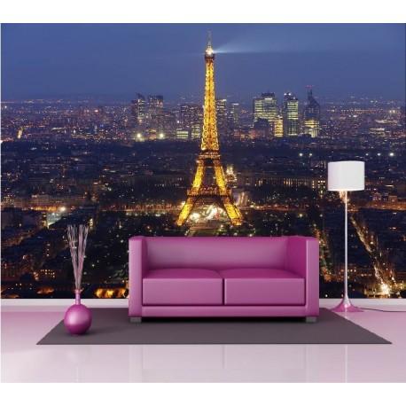 Papier Peint Geant Deco Tour Eiffel Illuminee 250x360cm Art Deco