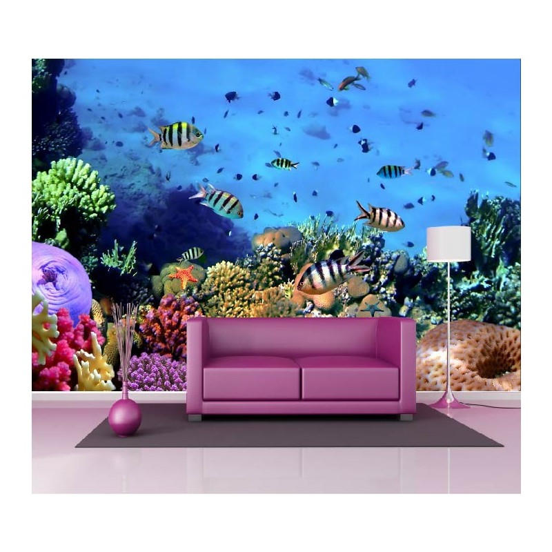 papier peint g ant d co petits poissons 250x360cm art d co stickers. Black Bedroom Furniture Sets. Home Design Ideas