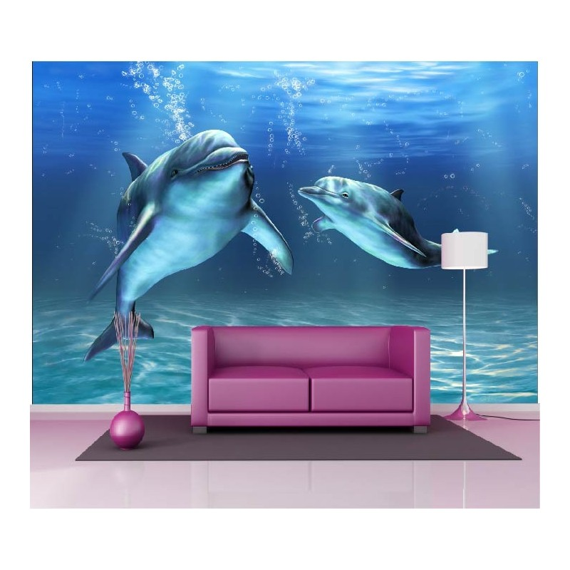 papier peint g ant d co dauphins 250x360cm art d co stickers. Black Bedroom Furniture Sets. Home Design Ideas