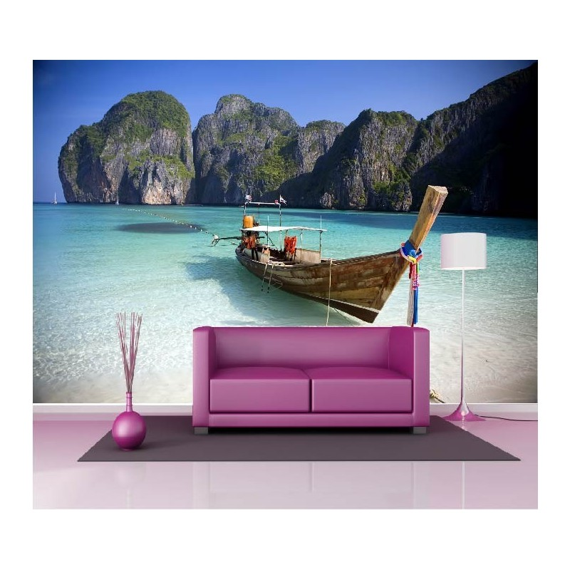 papier peint g ant d co mer turquoise barque 250x360cm art d co stickers. Black Bedroom Furniture Sets. Home Design Ideas