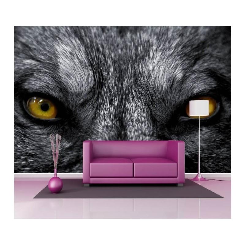 papier peint g ant d co yeux de loup 250x360cm art d co stickers. Black Bedroom Furniture Sets. Home Design Ideas