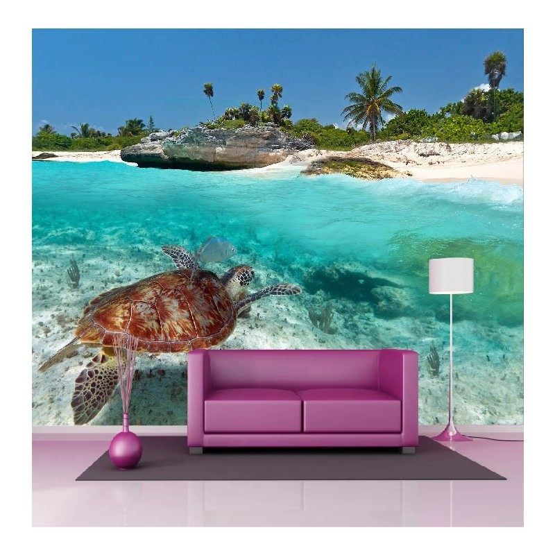 papier peint g ant d co tortue de mer 250x360cm art d co stickers. Black Bedroom Furniture Sets. Home Design Ideas