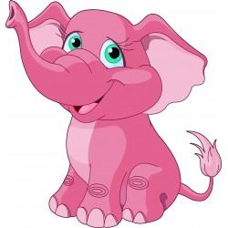 Stickers enfant Eléphant rose