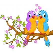 Stickers enfant Oiseaux amoureux
