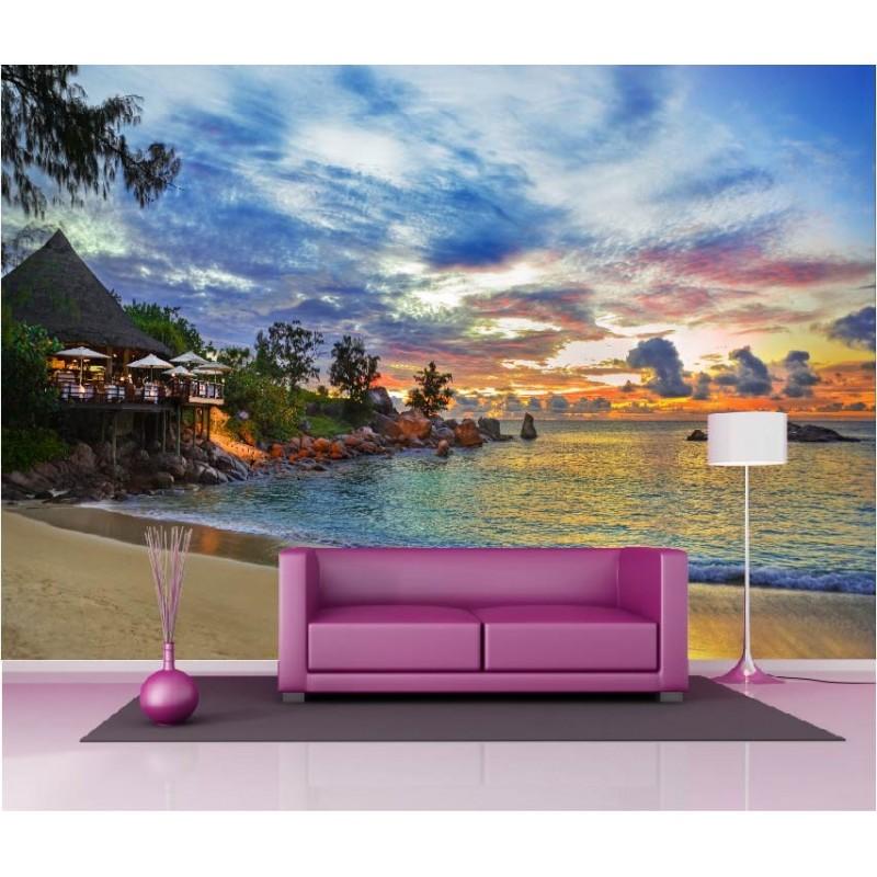 Papier peint g ant d co maison bord de plage 250x360cm - Deco maison papier peint ...