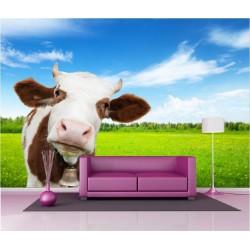 Papier peint géant déco vache dans le pré 250x360cm