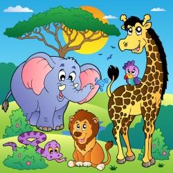 Stickers enfant géant animaux de la jungle