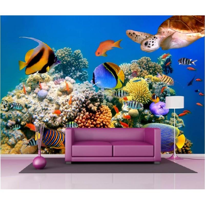 papier peint g ant d co poissons tropicaux 250x360cm art. Black Bedroom Furniture Sets. Home Design Ideas
