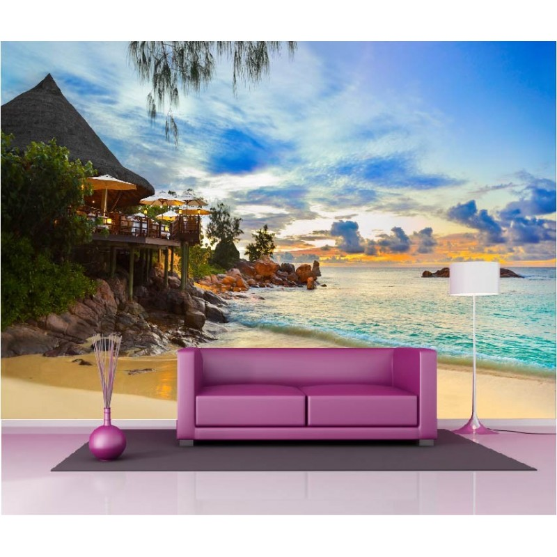 papier peint g ant d co maison bord de plage 250x360cm art d co stickers. Black Bedroom Furniture Sets. Home Design Ideas