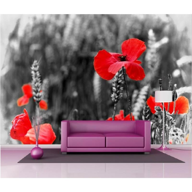 papier peint g ant d co champ de coquelicot 250x360cm art d co stickers. Black Bedroom Furniture Sets. Home Design Ideas