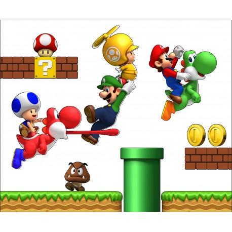 sticker Autocollant Mario et ses amis